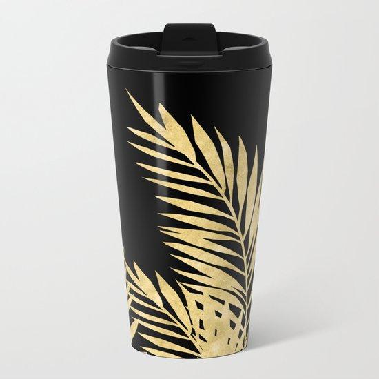 Palm Leaves Golden On Black Metal Travel Mug