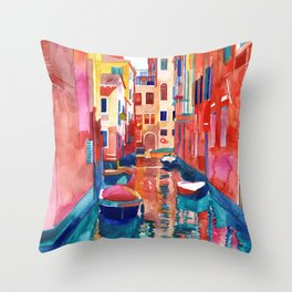 Venice Street with boats Throw Pillow