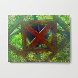 Rusted Cross Metal Print