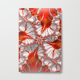 Red and White Fractal Abstract Metal Print