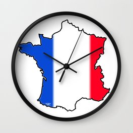 France Map with French Flag Wall Clock