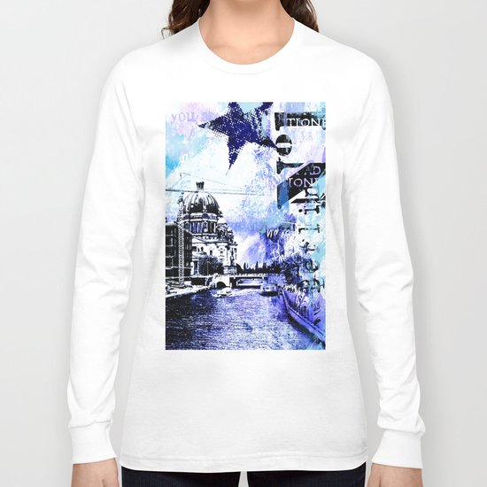 Berlin urban blue mixed media art Long Sleeve T-shirt