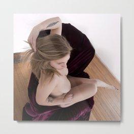 2601s-MS  Seated Nude Woman Hair Swept Back Metal Print