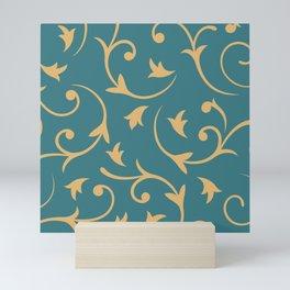 Baroque Design – Gold on Teal Mini Art Print