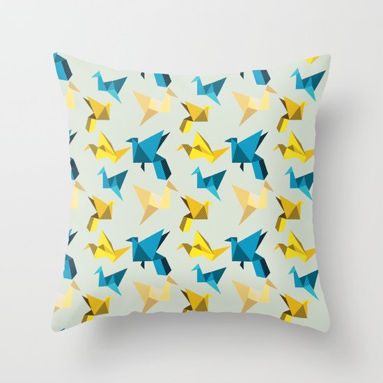 paper cranes in flight Throw Pillow