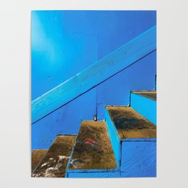 blue and brown old wood stairs with blue wall background Poster