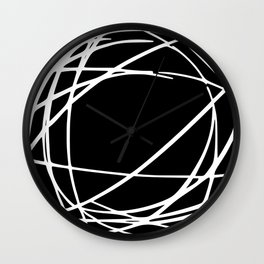 Black and White Circles and Swirls Modern Abstract Wall Clock