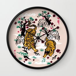 Tiger and Pug Japanese style Wall Clock