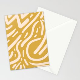 Earthy Mustard Yellow and Light Peach tribal inspired modern pattern Stationery Cards
