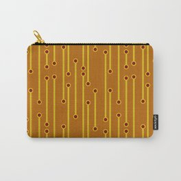 Dotted Lines in Mustard, Burgundy and Spicy Orange Carry-All Pouch
