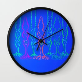 Rod cells and cone cells, fluorescent drawing Wall Clock