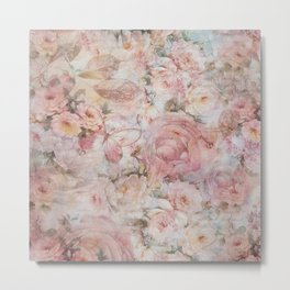 Vintage elegant blush pink collage floral typography Metal Print