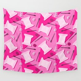 Memphis Sewing in Pink Wall Tapestry