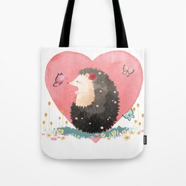 Love Heart Hedgehog Tote Bag