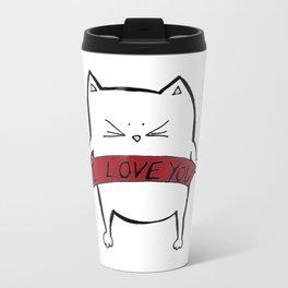 Cat in love Metal Travel Mug