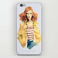 karen hallion iPhone & iPod Skins featuring Portrait of Karen Elson by Rive Gauche Craft
