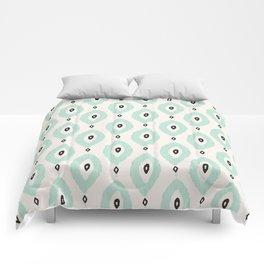 Bohemian Ikat - Dark gray, light blue and cream pattern Comforters
