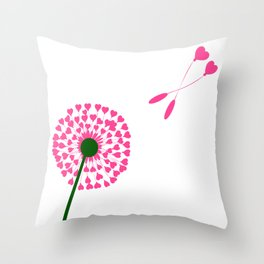 Dandelion Heart Seed Lovers Throw Pillow