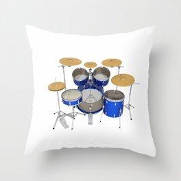 Blue Drum Kit Throw Pillow