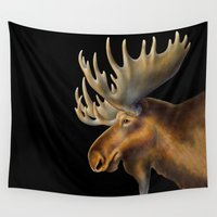 moose Wall Tapestries featuring Moose by Tim Jeffs Art