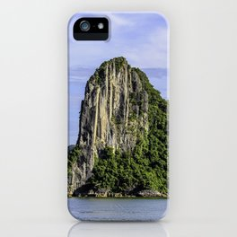 Four Limestone Cliffs Covered with Tropical Trees and Plants Rise from the Water of Halong Bay, Vietnam iPhone Case