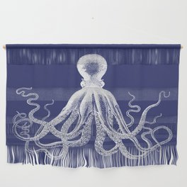 Octopus   Navy Blue and White Wall Hanging