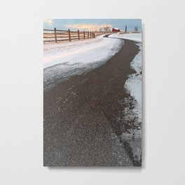 Winding Winter Road Metal Print