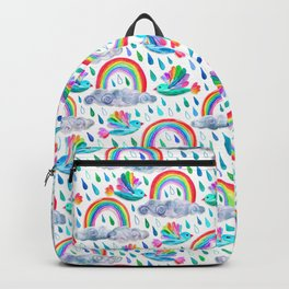 Spring Showers and Rainbow Birds on White Backpack