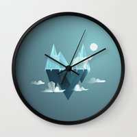 low poly Wall Clocks featuring Low Poly Polar Bear by scarriebarrie