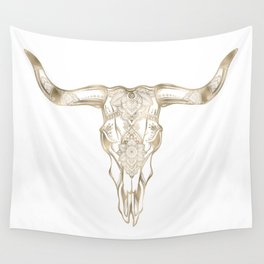 Bull Skull Gold Wall Tapestry