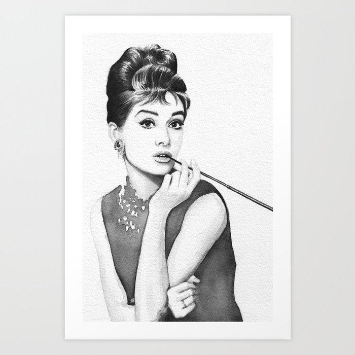 Audrey Hepburn Breakfast at Tiffanys Art Print