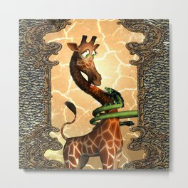 Giraffe and dragon Metal Print