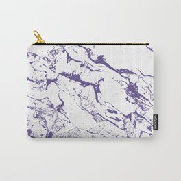 Modern trendy white marble purple ultra violet pattern Carry-All Pouch