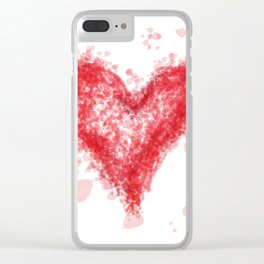 Valentine Flying Heart with Leaves Clear iPhone Case