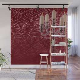 Red Damask Web Candelabra Wall Mural