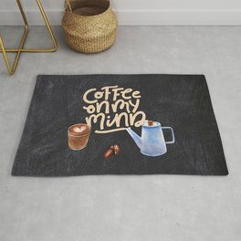 Coffee blackboard lettering — Coffee on my mind Rug
