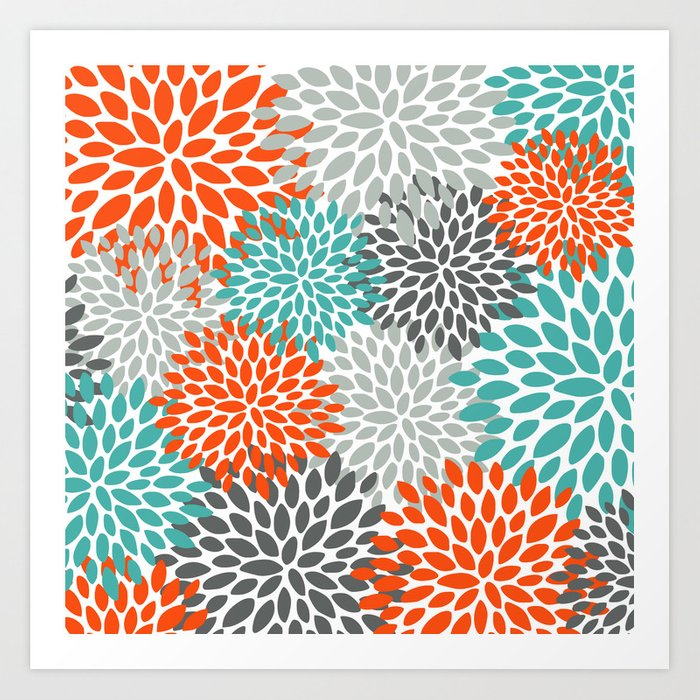 Floral Pattern, Abstract, Orange, Teal and Gray Kunstdrucke