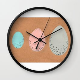 Pastel Speckled Egg Trio Painting Wall Clock