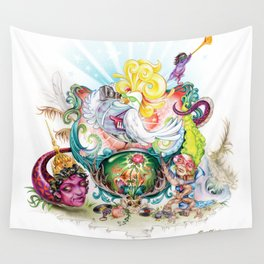 Pop Rooster Wall Tapestry