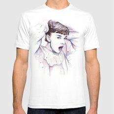 Audrey Hepburn Watercolor Actress Breakfast at Tiffanys White SMALL Mens Fitted Tee
