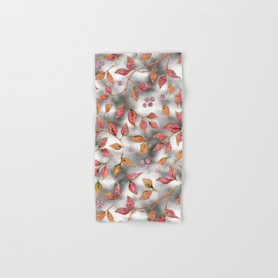 Autumworld- Sparkling pink  glitter leaves on silver background #Society6 Hand & Bath Towel