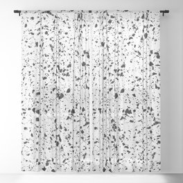 Classy vintage marble terrazzo monochrome design Sheer Curtain