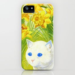 Cat And Daffodils - Digital Remastered Edition iPhone Case