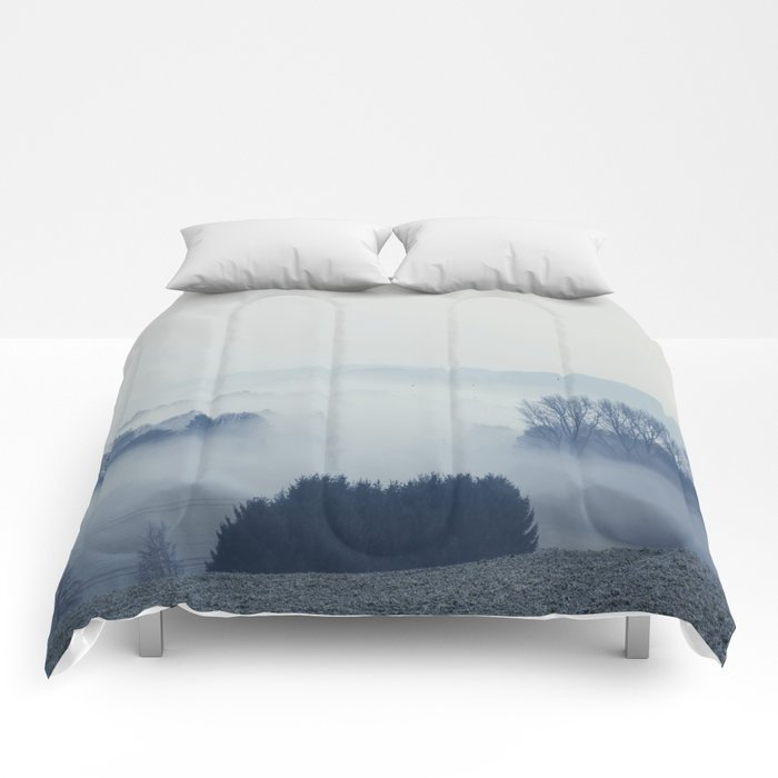 White Cover - Foggy Landscape Comforters