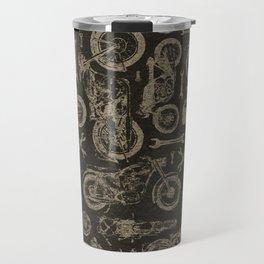 Dark Vintage Motorcycle Pattern Travel Mug