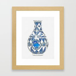 A BLUE AND WHITE VASE KANGXI PERIOD (1662-1722) watercolor by Ahmet Asar Framed Art Print