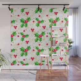 Christmas holly berries Wall Mural