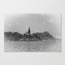 Snowy Bled Island Mono Canvas Print