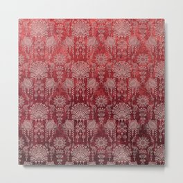 Victorian Potpourri - Faded Splendor Damask - RUBY Metal Print