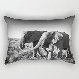 Elephant friends walk together along African savanna Rectangular Pillow